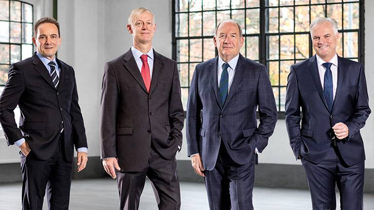Management of the Waelzholz Group: Dr. Matthias Gierse, Dr.-Ing. Heino Buddenberg, Dr.-Ing. Hans-Toni Junius, Holger Bierstedt, MBA (from left)